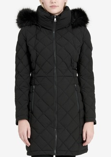 Calvin Klein Faux-Fur-Trim Stretch Down Coat