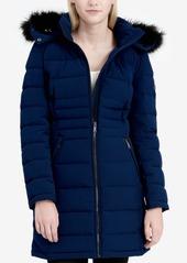Calvin Klein Faux-Fur-Trim Stretch Down Coat
