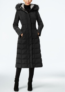 Calvin Klein Faux-Fur-Trim Water-Resistant Down Puffer Maxi Coat