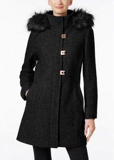 Calvin Klein Faux-Fur-Trim Wool-Blend Walker Coat