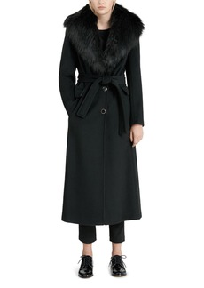 Calvin Klein Faux Fur Trim Wrap Coat