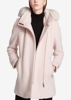 Calvin Klein Faux-Fur-Trimmed Asymmetrical Walker Coat