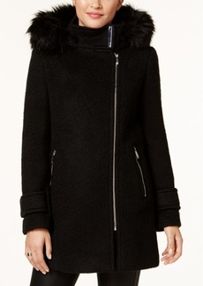 Calvin Klein Faux-Fur-Trimmed Asymmetrical Walker Coat
