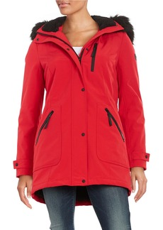 CALVIN KLEIN Faux Fur-Trimmed Hooded Anorak Coat