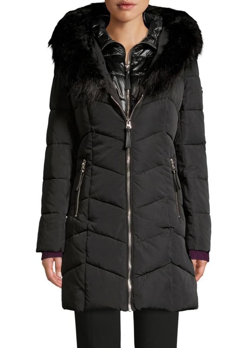 Calvin Klein Faux Fur-Trimmed Layered Parka