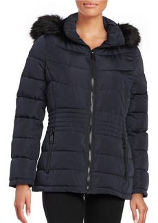 CALVIN KLEIN Faux Fur-Trimmed Puffer Coat