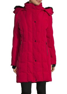 Calvin Klein Faux Fur-Trimmed Puffer Coat with Removable Hood
