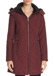 Calvin Klein Faux Fur-Trimmed Quilted Jacket