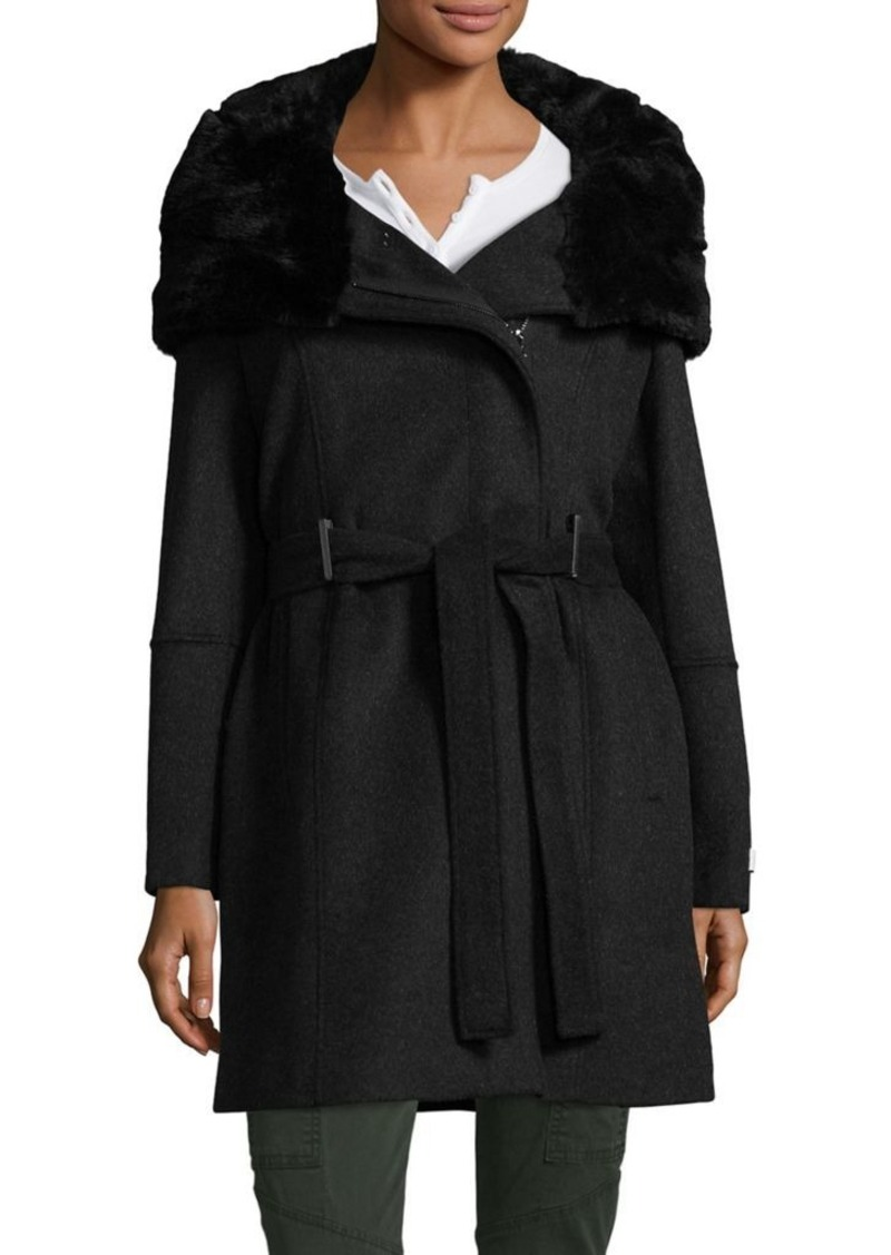 f5b63868485b2 On Sale today! Calvin Klein Calvin Klein Faux Fur-Trimmed Wrap Coat