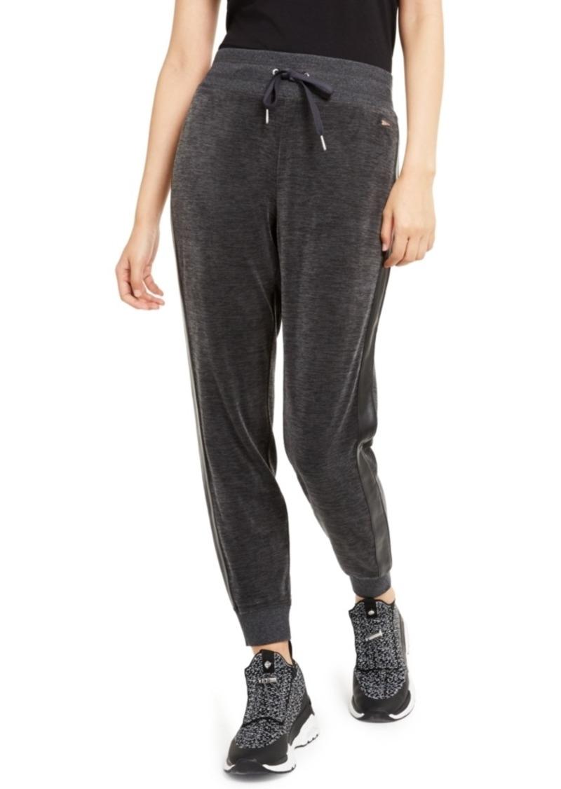 Calvin Klein Faux-Leather & Velour Jogger Pants