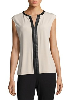Calvin Klein Faux Leather-Accented Top
