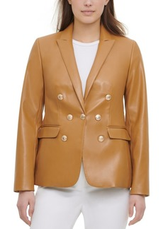 Calvin Klein Faux-Leather Blazer