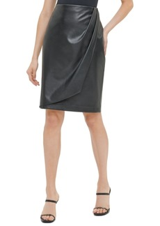 Calvin Klein Faux-Leather Faux-Wrap Pencil Skirt