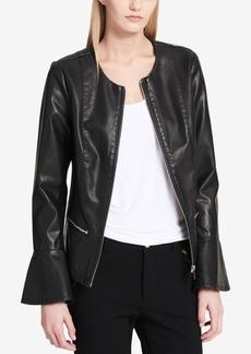 Calvin Klein Faux-Leather Flared-Sleeve Moto Jacket