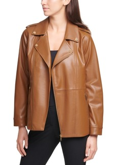 Calvin Klein Faux-Leather Moto Zippered Jacket