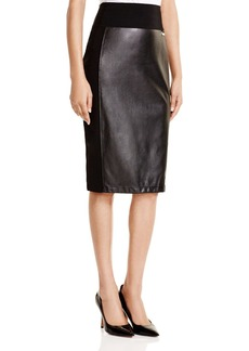 Calvin Klein Faux Leather Pencil Skirt