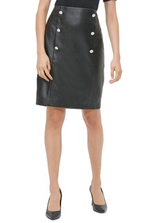 Calvin Klein Faux-Leather Pencil Skirt