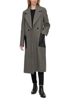 Calvin Klein Faux-Leather-Pocket Houndstooth Maxi Coat