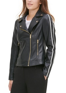Calvin Klein Faux-Leather Racer-Stripe Moto Jacket