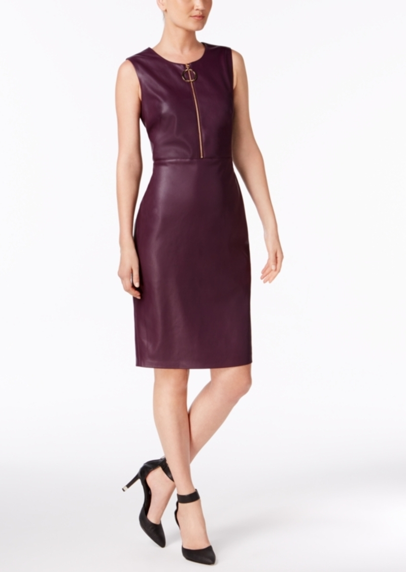 1268cb8fb46 Calvin Klein Calvin Klein Faux-Leather Sheath Dress