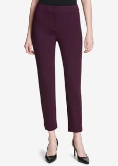 Calvin Klein Faux-Leather Stripe Ankle Pants