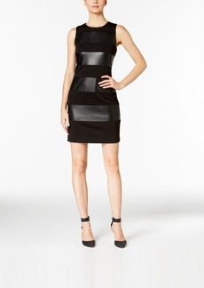 Calvin Klein Faux-Leather-Stripe Sheath Dress