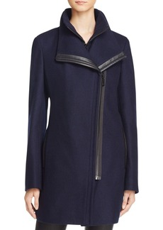 Calvin Klein Faux Leather Trim Asymmetric Coat