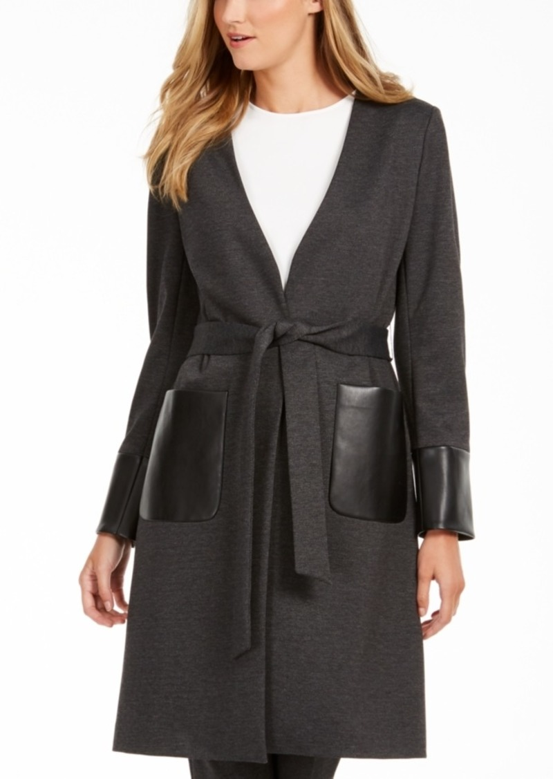 Calvin Klein Faux-Leather-Trim Belted Cardigan