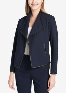 Calvin Klein Faux-Leather-Trim Blazer