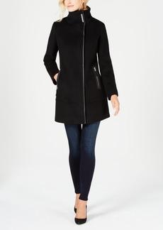 Calvin Klein Faux-Leather-Trim Boucle Coat