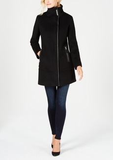 Calvin Klein Faux-Leather-Trim Boucle Coat