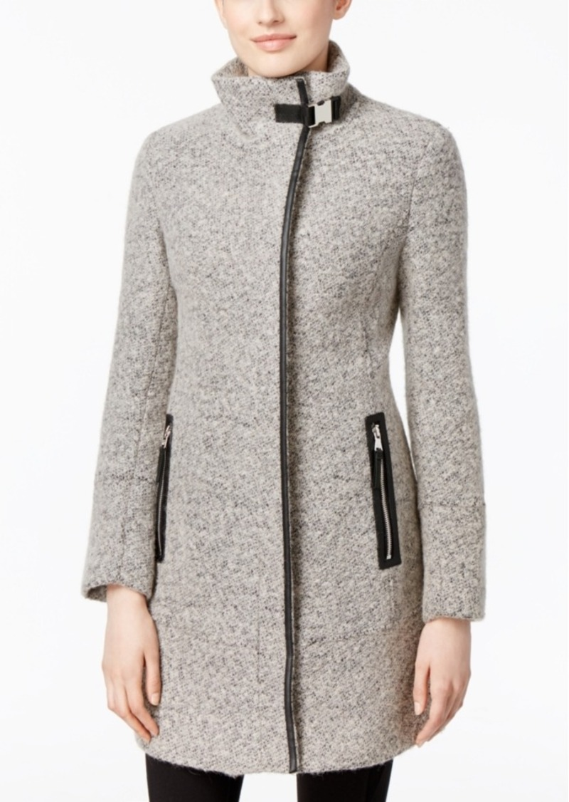 Calvin Klein Faux-Leather-Trim Boucle Walker Coat