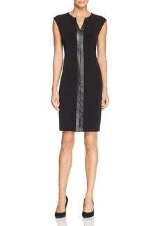Calvin Klein Faux Leather Trim Keyhole Sheath Dress