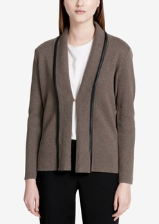 Calvin Klein Faux-Leather-Trim Knit Blazer