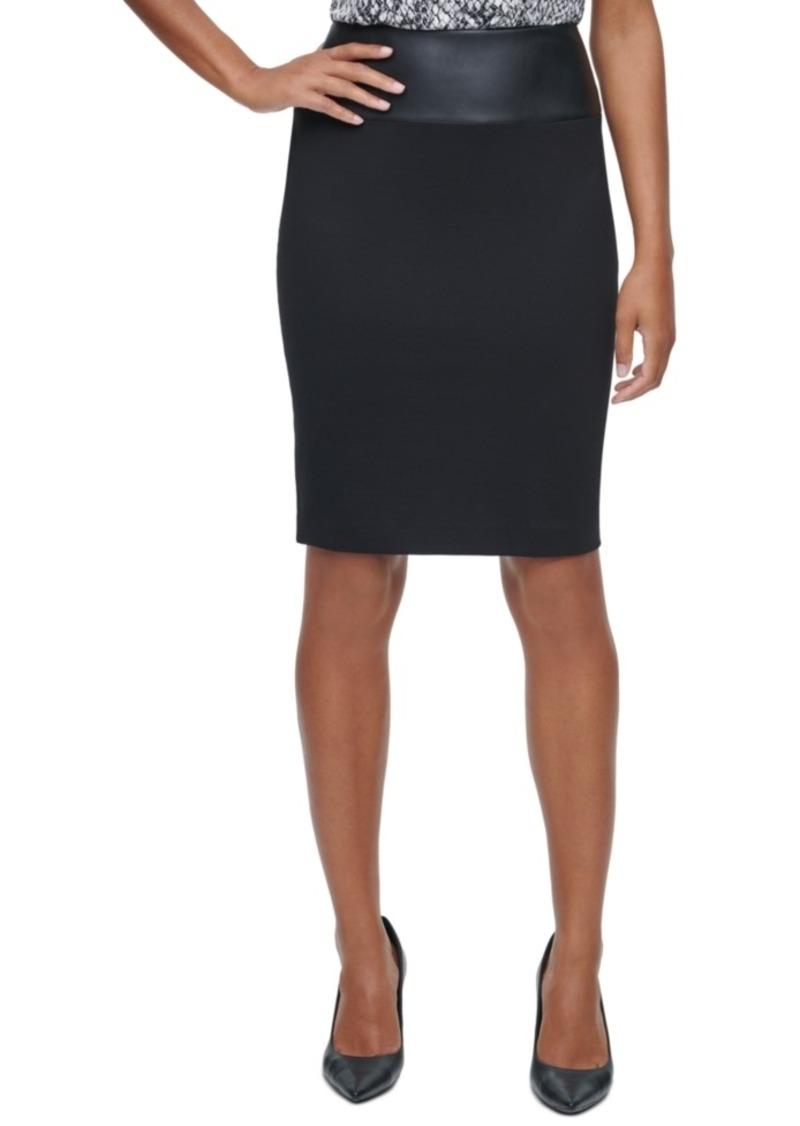 Calvin Klein Faux-Leather-Trim Pencil Skirt