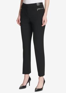 Calvin Klein Faux-Leather-Trim Ponte-Knit Pants