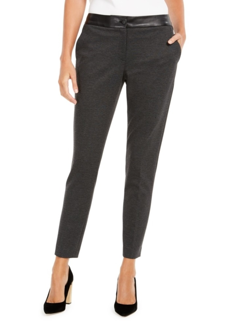 Calvin Klein Faux-Leather-Trim Slim-Leg Pants