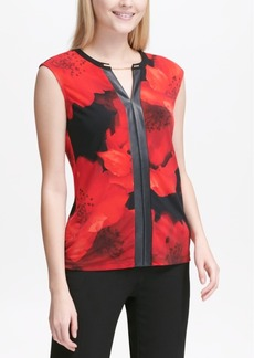 Calvin Klein Faux-Leather-Trim Top