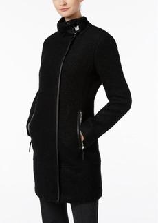 Calvin Klein Faux-Leather-Trim Walker Coat