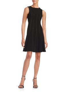 CALVIN KLEIN Faux Leather-Trimmed A-Line Dress