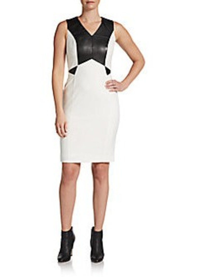 Calvin Klein Faux Leather-Trimmed Dress