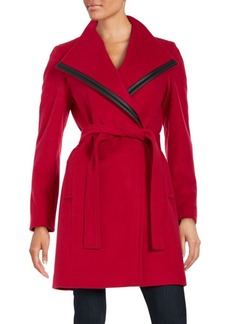 Calvin Klein Faux Leather-Trimmed Wool-Blend Coat