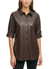 Calvin Klein Faux-Leather Tunic Top