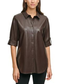 Calvin Klein Faux-Leather Tunic Top