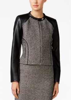 Calvin Klein Faux-Leather Tweed Moto Jacket
