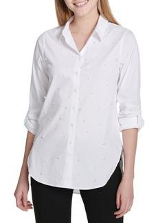 Calvin Klein Faux Pearl-Embellished Poplin Blouse