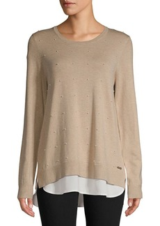Calvin Klein Faux Pearl Embellished Twofer Sweater