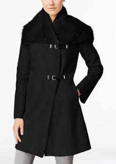 Calvin Klein Faux-Shearling Buckled Walker Coat