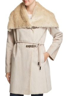 Calvin Klein Faux Shearling Double Belted Coat