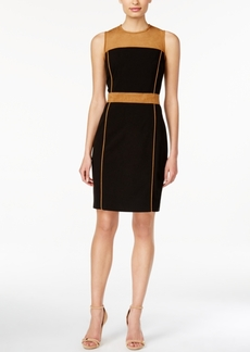 Calvin Klein Faux-Suede Colorblocked Sheath Dress